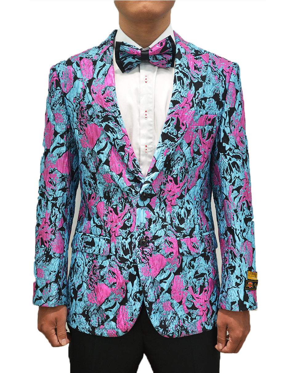 Mens Aqua Turquoise and Fuchsia Splatter Blazer