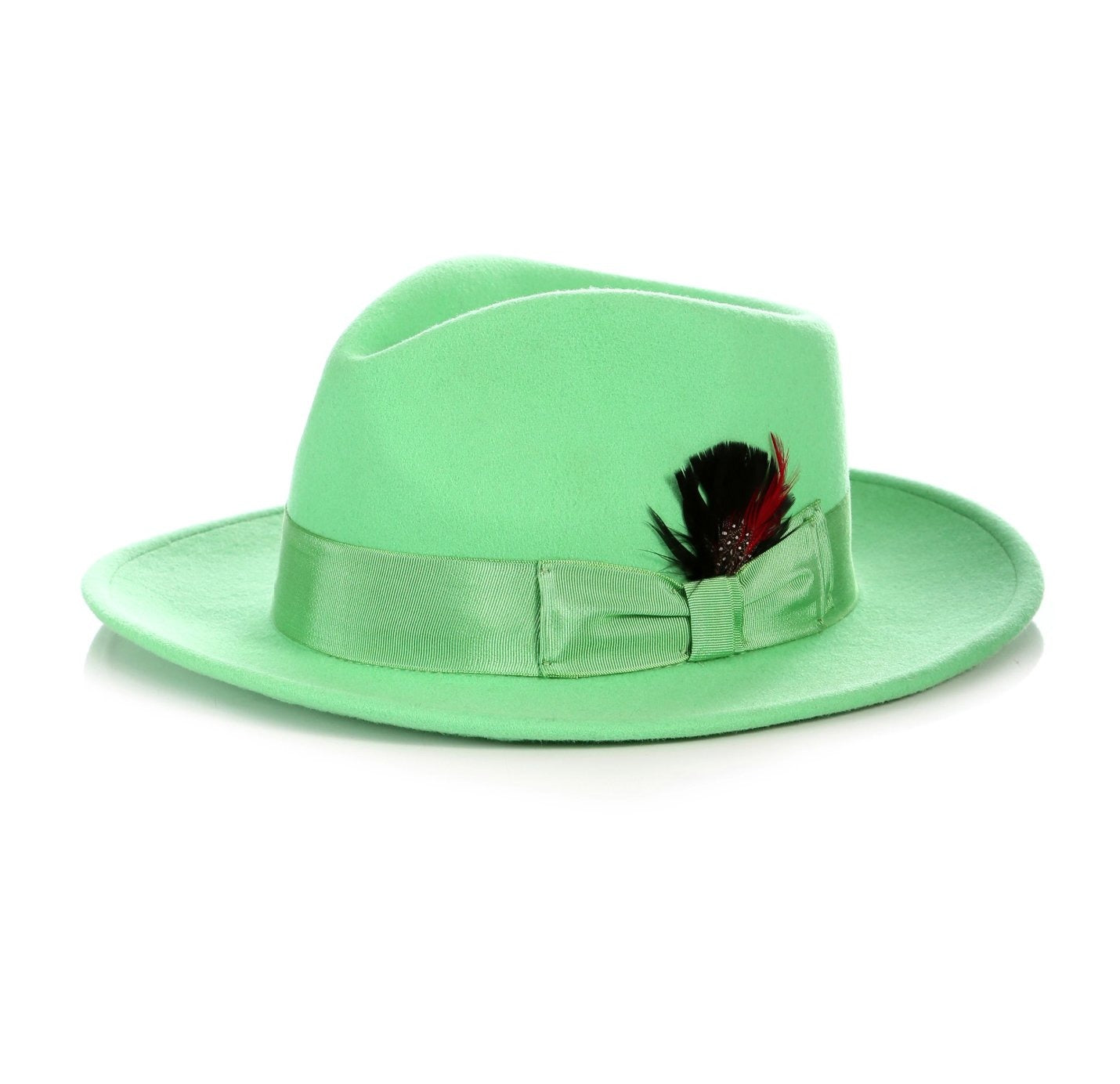 Mens Gangster Untouchable Fedora Hat in Apple Green
