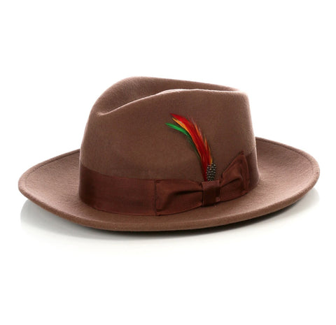 Mens Gangster Untouchable Fedora Hat in Brown