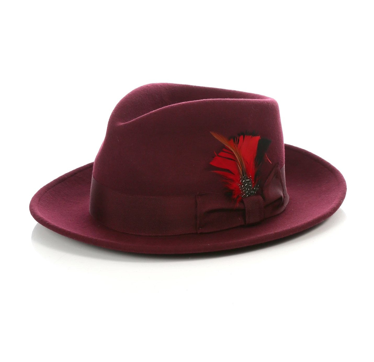 Mens Gangster Untouchable Fedora Hat in Burgundy