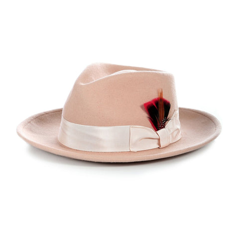 Mens Gangster Untouchable Fedora Hat in Camel