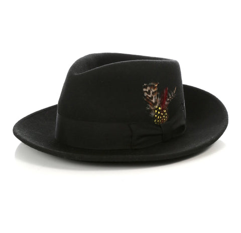 Mens Gangster Untouchable Fedora Hat in Black