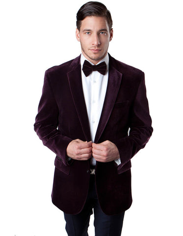 Mens 2 Button Velvet Blazer in Burgundy