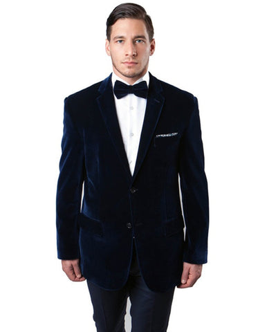 Mens Peak Lapel Velvet Tuxedo Jacket in Navy