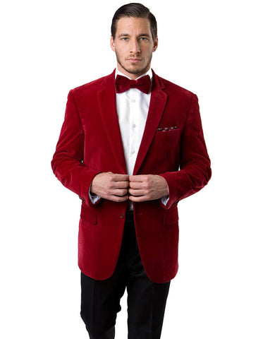 Mens 2 Button Velvet Blazer in Red