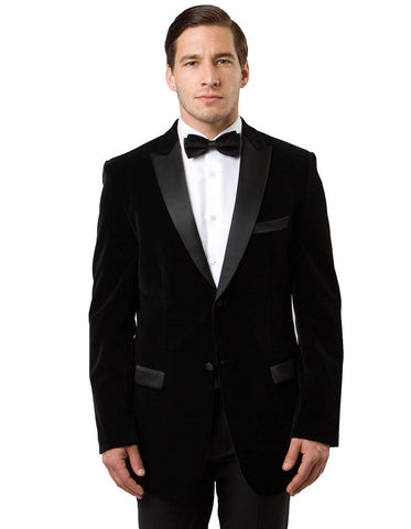 Mens Peak Lapel Velvet Tuxedo Jacket in Black