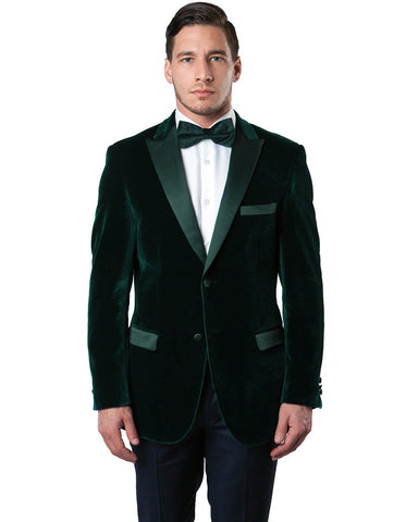 Mens Peak Lapel Velvet Tuxedo Jacket in Hunter Green