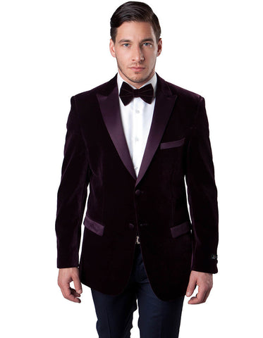Mens Peak Lapel Velvet Tuxedo Jacket in Burgundy