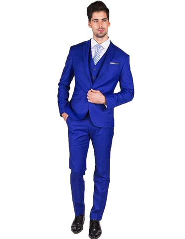 Mens Slim Fit Vested Royal Blue Suit