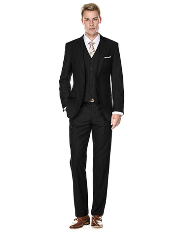 Mens Vested Smart Modern Fit Suit Black