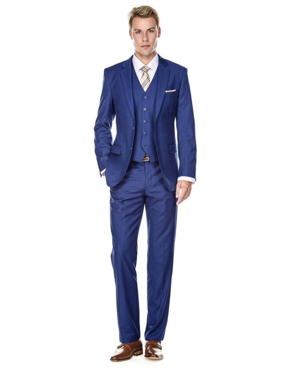Mens Vested Smart Modern Fit Suit Indigo Blue