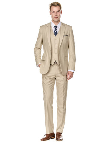 Mens Vested Smart Modern Fit Suit Light Tan