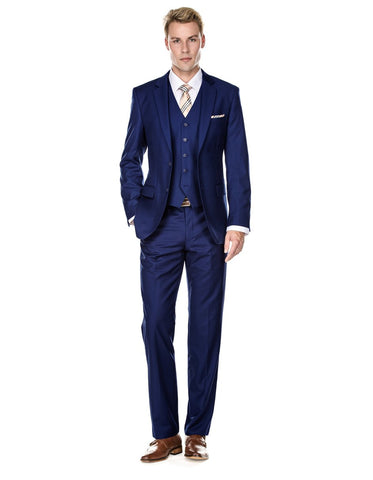 Mens Vested Smart Modern Fit Suit Navy Blue