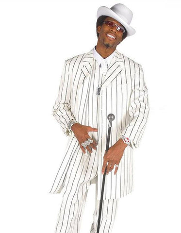 Mens Gangster Zoot Suit in White & Black Chalk Stripe