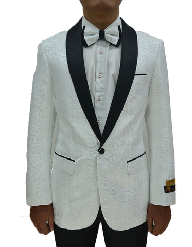 Mens Swirl & Diamond Pattern Prom Tuxedo Jacket in White & Black