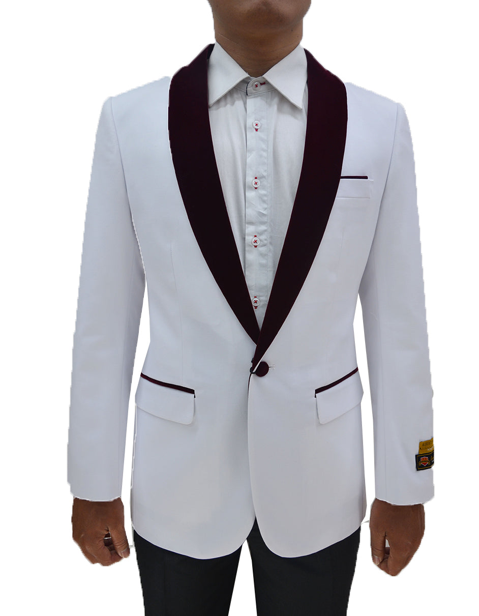 Mens One Button Contrast Shawl Collar Dinner Jacket White & Burgundy