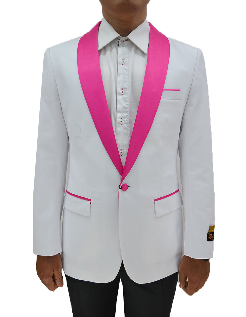 Mens One Button Contrast Shawl Collar Dinner Jacket White & Fuchsia