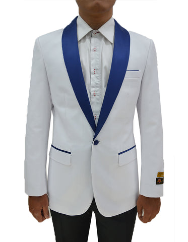 Mens One Button Contrast Shawl Collar Tuxedo Dinner Jacket in White & Royal Blue
