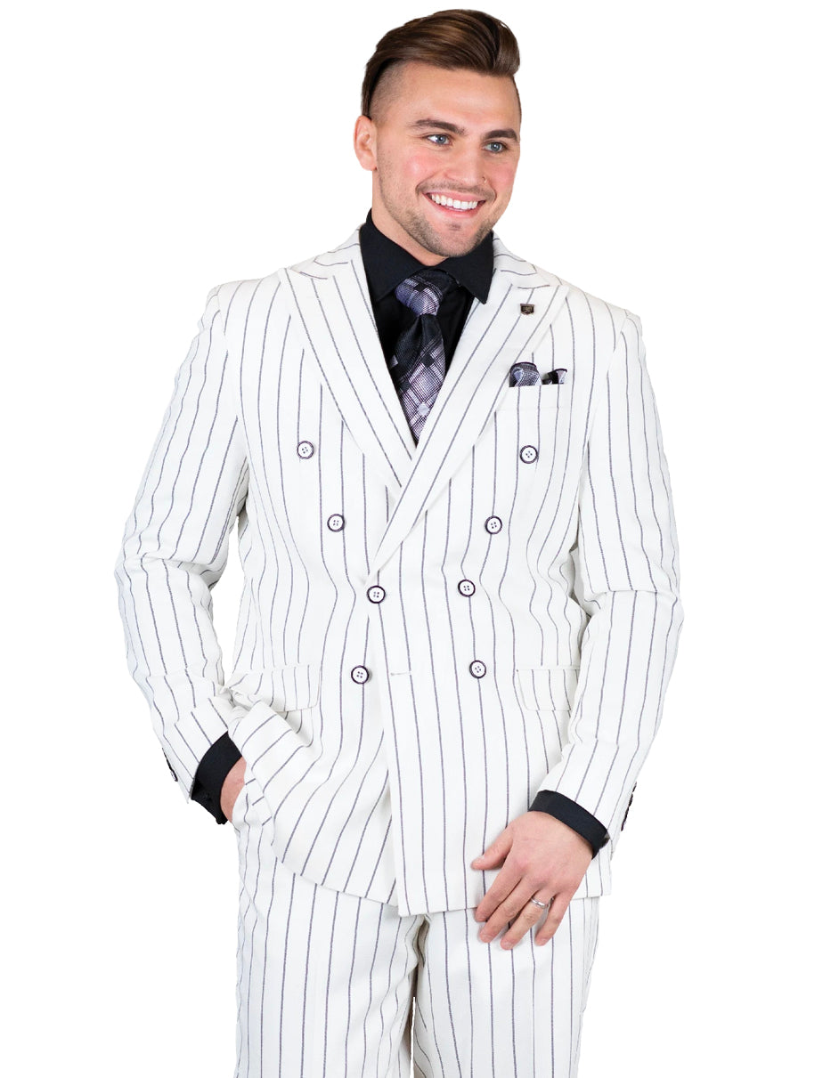 Mens 2 Double Breasted Gangster Pinstripe Suit in White