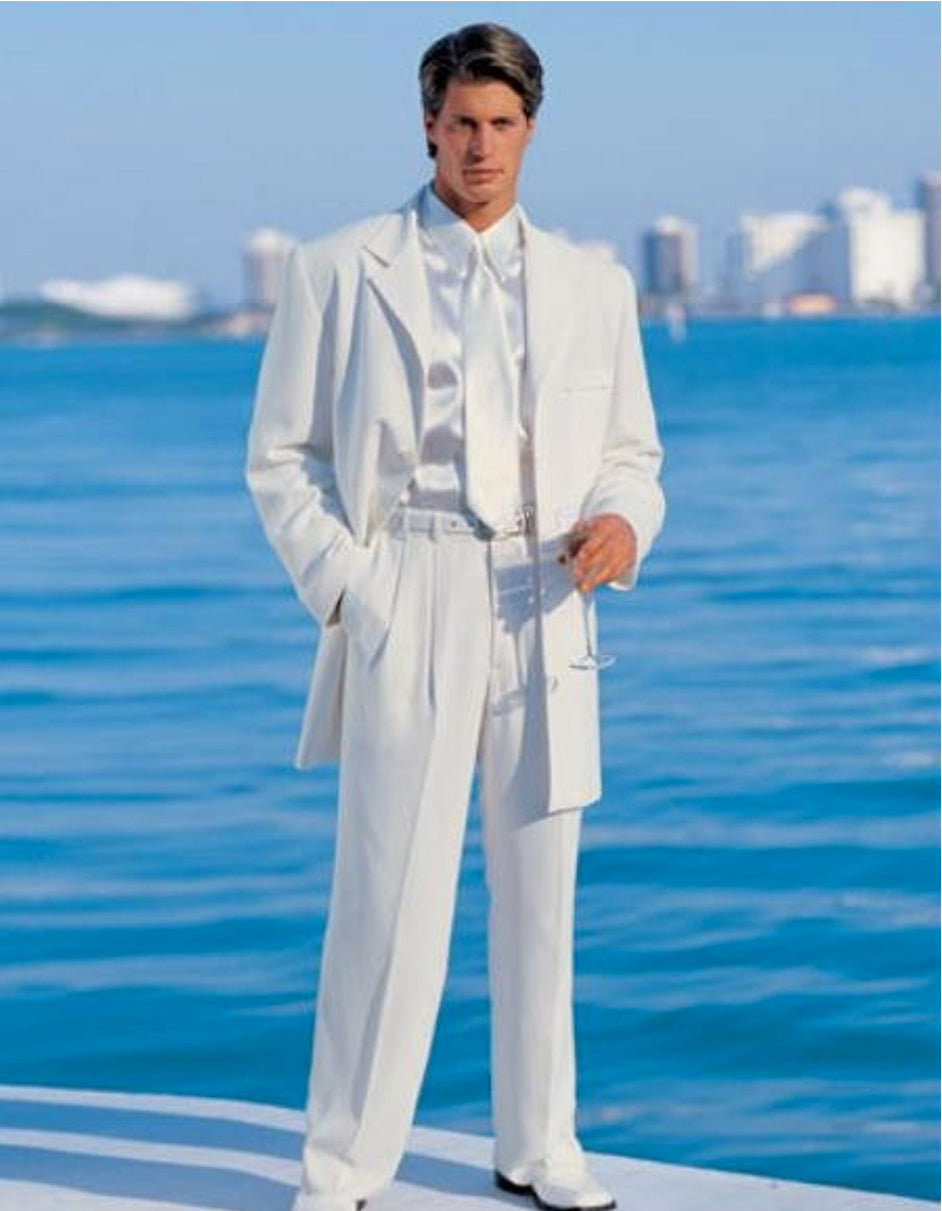 Mens Long Zoot Suit in White