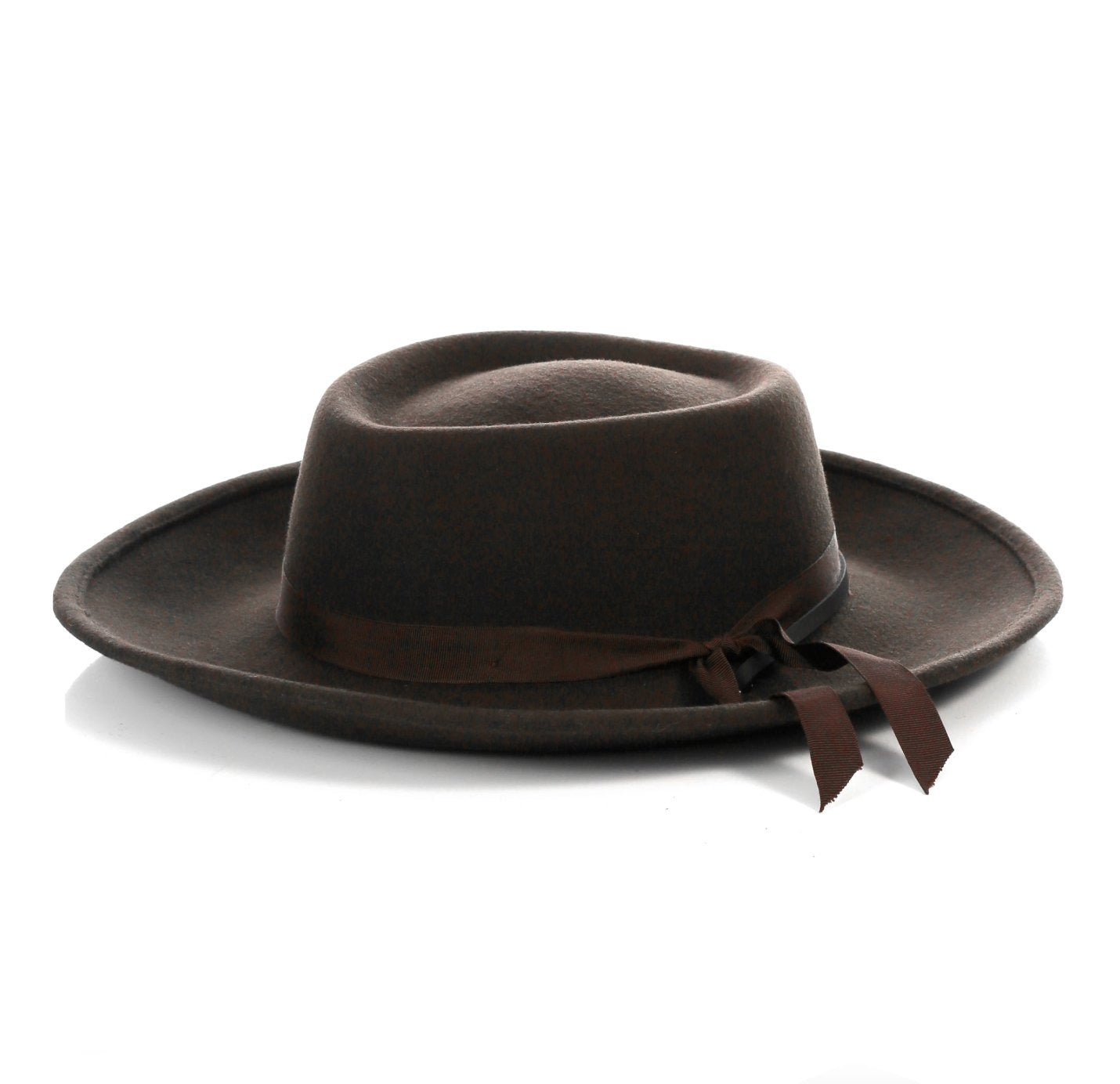 Mens Wide Brim Dress Fedora Hat in Brown