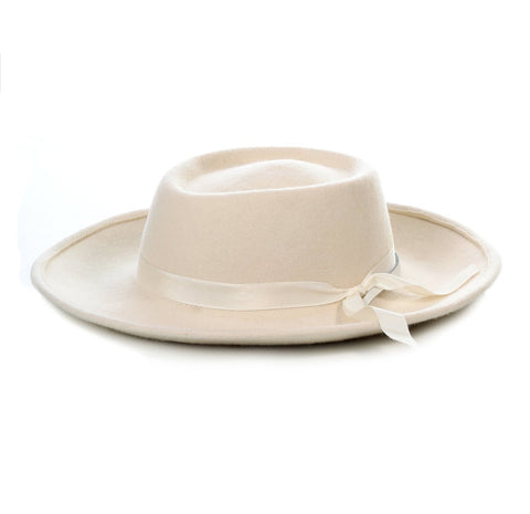 Mens Wide Brim Dress Fedora Hat in Ivory