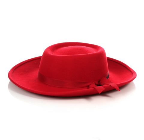 Mens Wide Brim Dress Fedora Hat in Red
