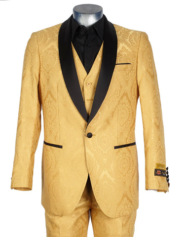 Mens Vested Slim Fit Paisley Brocade Shawl Prom Tuxedo in Gold