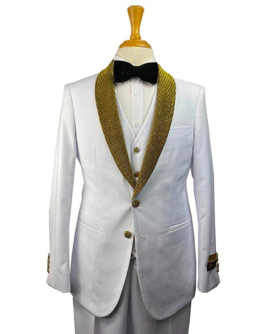 Mens Vested Modern Fit White & Gold Rhinestone Shawl Prom Tuxedo