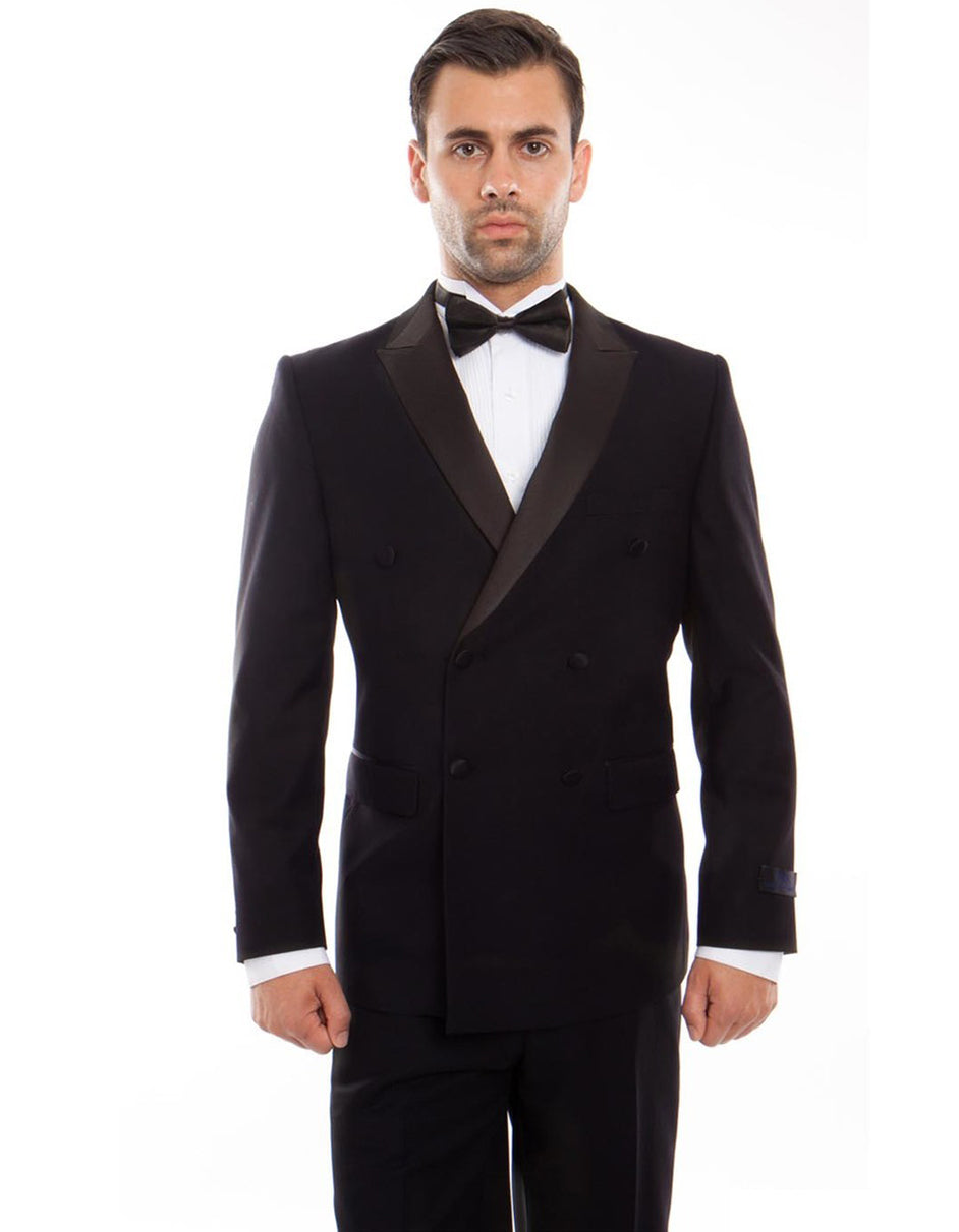 Mens Slim Fit Double Breasted Wool Tuxedo in Black