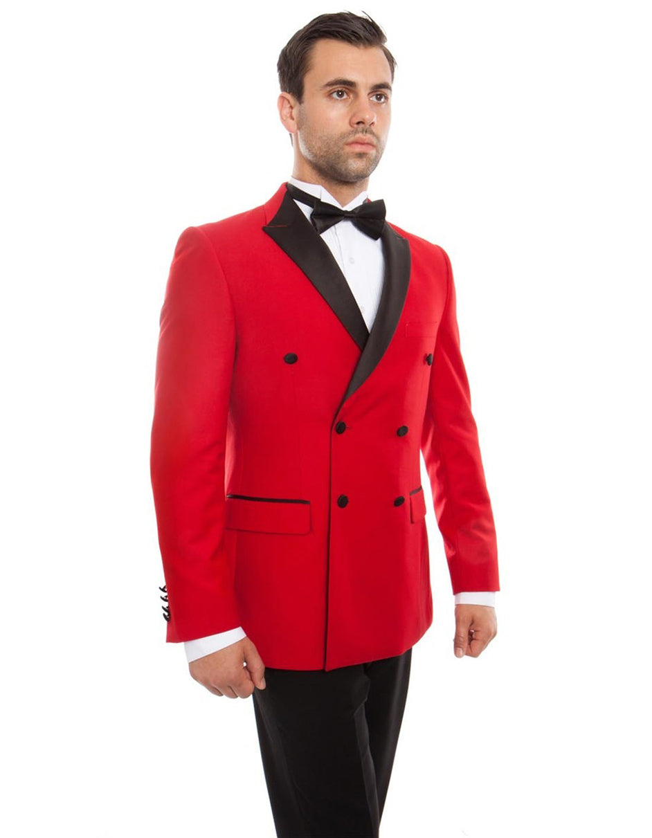Mens Slim Fit Double Breasted Wool Tuxedo in Red