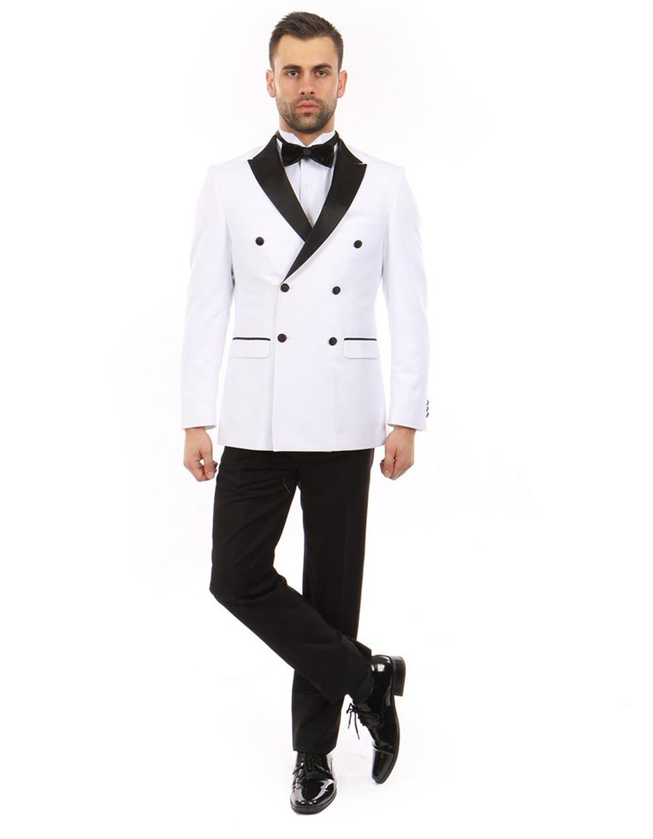 Mens Slim Fit Double Breasted Wool Tuxedo in White