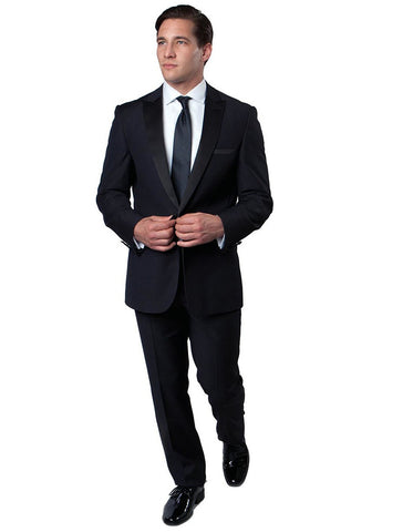 Mens Modern Wool Peak Tuxedo in Navy