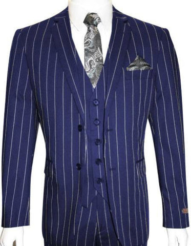 Mens 2 Button Gangster Pinstripe Suit in Dark Navy