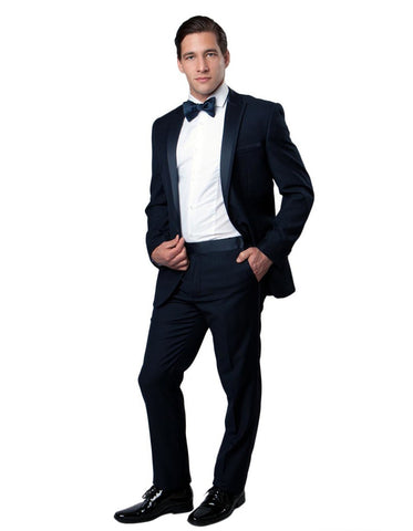 Mens Modern Wool Peak Trim Tuxedo in Navy