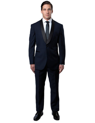 Mens Modern Fit Wool Shawl Tuxedo in Navy