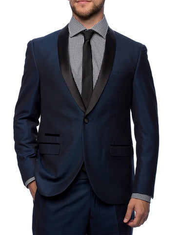 Mens Slim Fit 1 Button Shawl Lapel Tuxedo in Navy Blue
