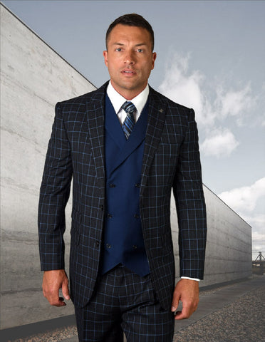 Mens 2 Button Vested Peak Lapel Suit in Navy Windowpane
