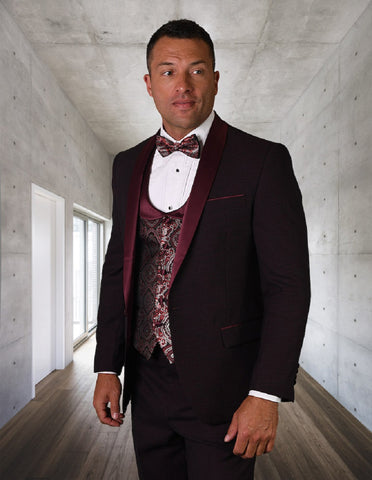 Mens One Button Shawl Tuxedo with Paisley Scoop Neck Vest in Burgundy
