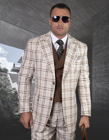 Mens Two Button Peak Lapel Vested Wool Suit in Tan Windowpane