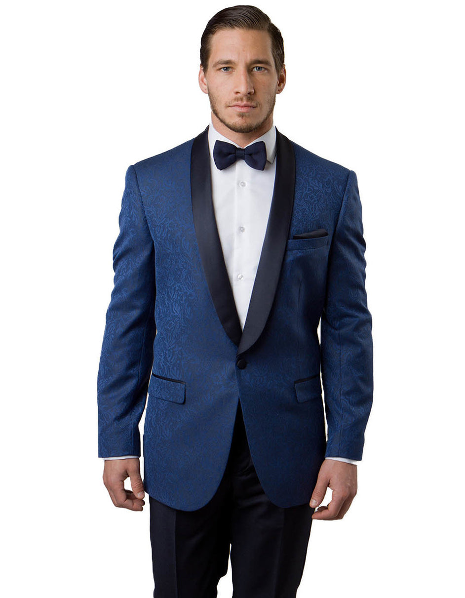 Mens Paisley Shawl Dinner Jacket in Blue