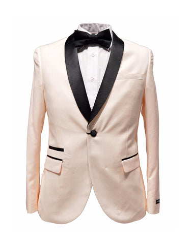 Mens Slim Fit 1 Button Shawl Lapel Tuxedo in Pink