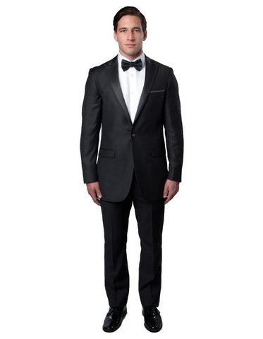 Mens Modern Wool Peak Trim Wedding Tuxedo in Charcoal