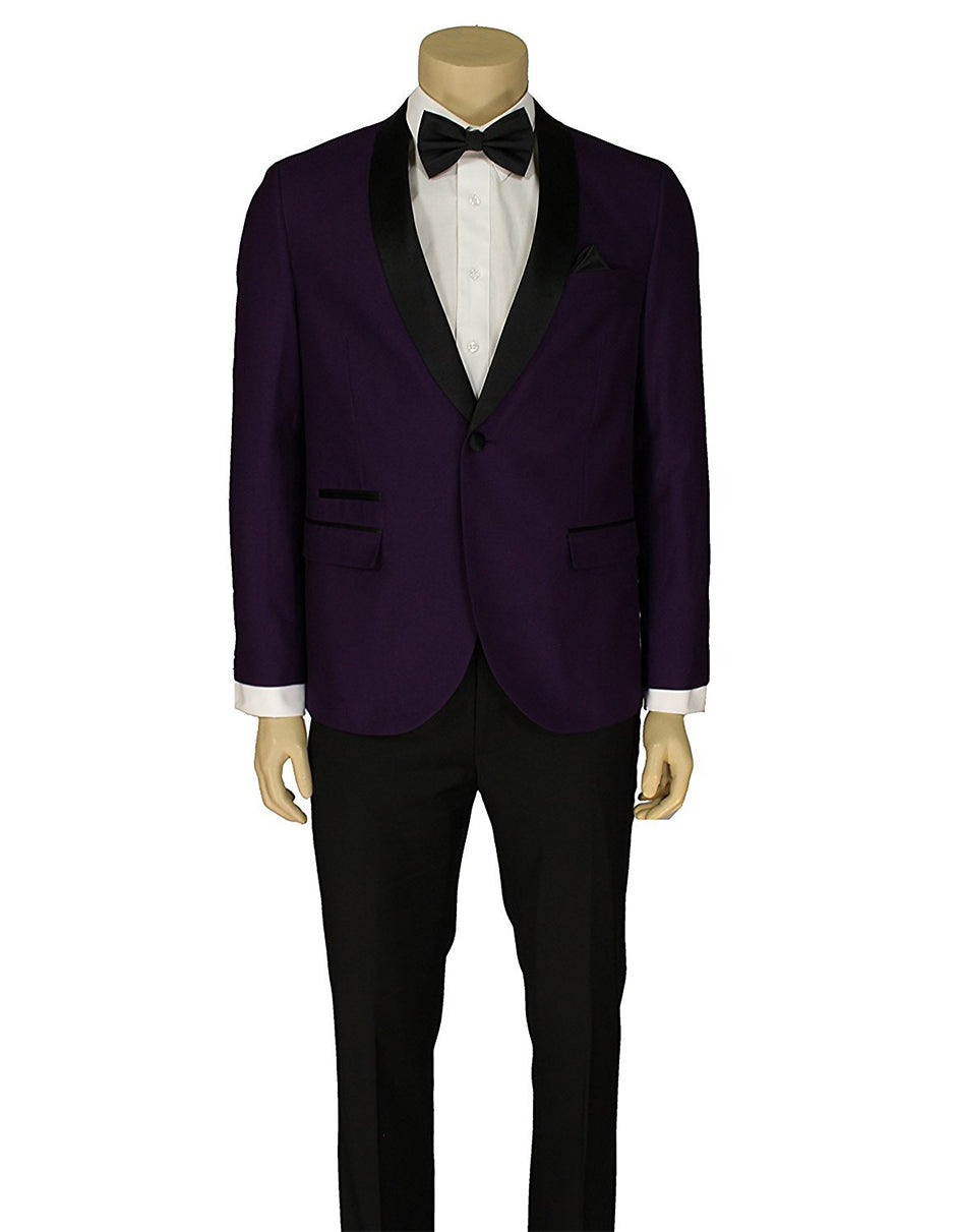Mens Slim Fit 1 Button Shawl Lapel Tuxedo in Purple