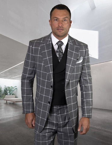 Mens 2 Button Wide Peak Lapel Suit with Double Breasted Shawl Lapel Vest in Black Windowpane