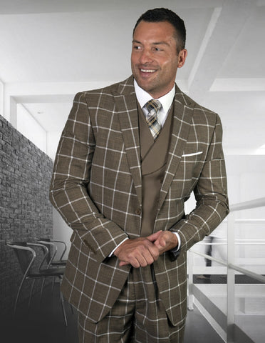 Mens 2 Button Wide Peak Lapel Suit with Double Breasted Shawl Lapel Vest in Bronze Windowpane