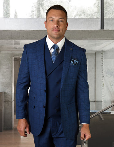 Mens 2 Button Wide Peak Lapel Suit with Double Breasted Shawl Lapel Vest in Sapphire Windowpane