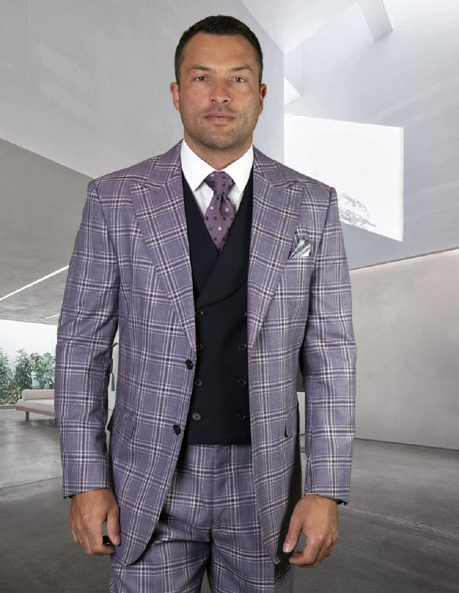 Mens 2 Button Wide Peak Lapel Suit with Double Breasted Shawl Lapel Vest in Eggplant Windowpane