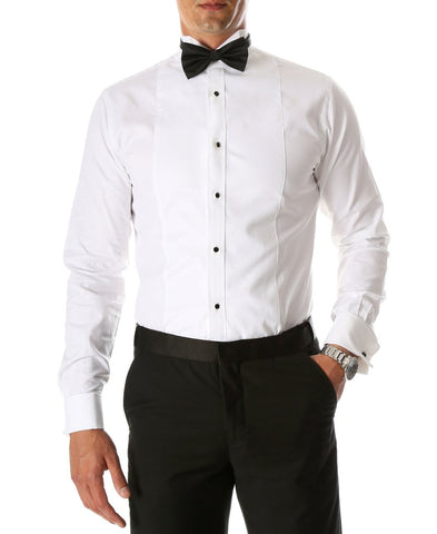 Mens Slim Fit Spread Collar Pique Tuxedo Shirt in White