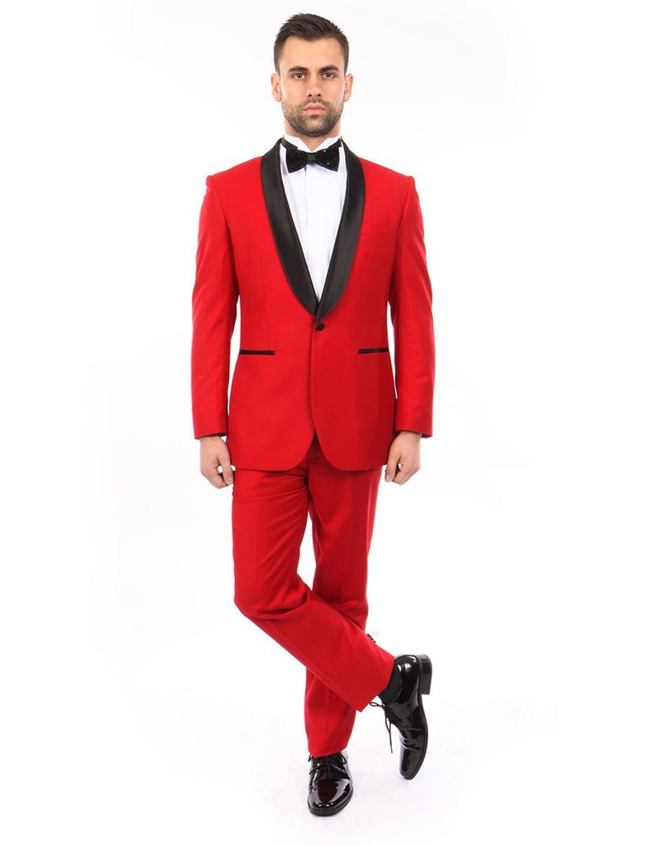 Mens Modern Fit Wool Shawl Prom Tuxedo in Red